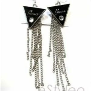 Guess Long Chain Earrings Silver Black Enamel Punk